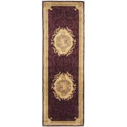 "Safavieh Handmade French Aubusson Red Premium Wool Rug - 2'6"" x 12' - Thumbnail 0"