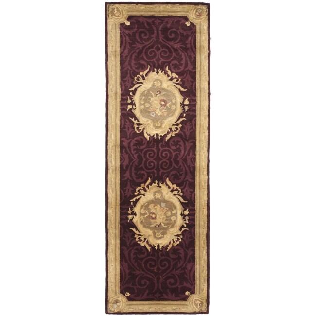 Safavieh Handmade French Aubusson Red Premium Wool Rug (2'6 x 8')