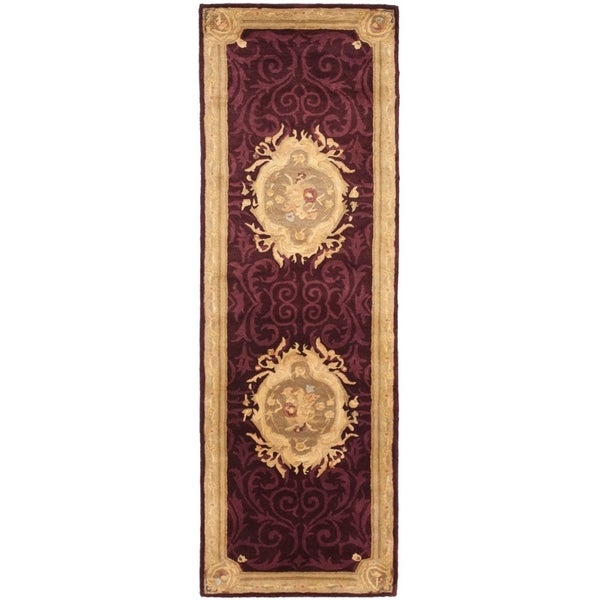 "Safavieh Handmade French Aubusson Red Premium Wool Rug - 2'6"" x 8'"