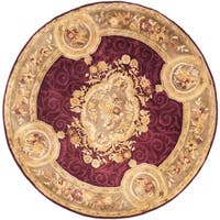 Safavieh Handmade French Aubusson Red Premium Wool Rug - 6' x 6' Round