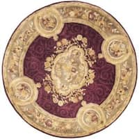 Safavieh Handmade French Aubusson Red Premium Wool Rug - 8' x 8' Round