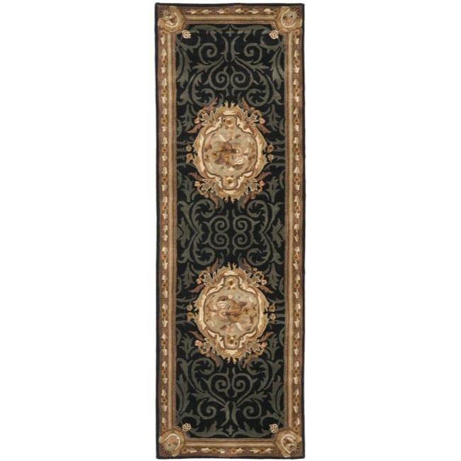 Safavieh Handmade French Aubusson Black Premium Wool Rug (2'6 x 10')