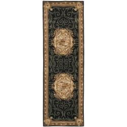 Safavieh Handmade French Aubusson Black Premium Wool Rug (2'6 x 12')