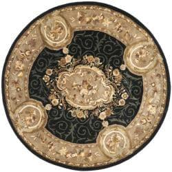Safavieh Handmade French Aubusson Black Premium Wool Rug (3'6 Round)