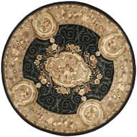 Safavieh Handmade French Aubusson Black Premium Wool Rug - 4' x 4' Round