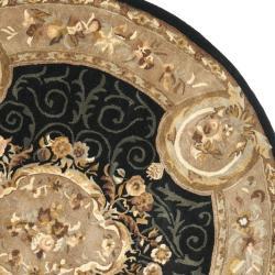 Safavieh Handmade French Aubusson Black Premium Wool Rug (4' x 4' Round) - Thumbnail 1