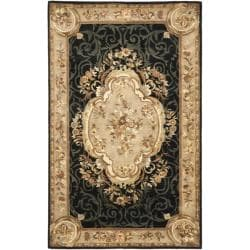 Safavieh Handmade French Aubusson Black Premium Wool Rug (5' x 8')