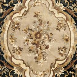 Safavieh Handmade French Aubusson Black Premium Wool Rug (7'6 x 9'6) - Thumbnail 2