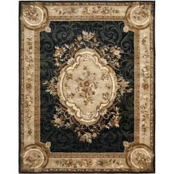 "Safavieh Handmade French Aubusson Black Premium Wool Rug - 7'6"" x 9'6"" - Thumbnail 0"
