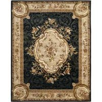 Safavieh Handmade French Aubusson Black Premium Wool Rug - 7'6 x 9'6