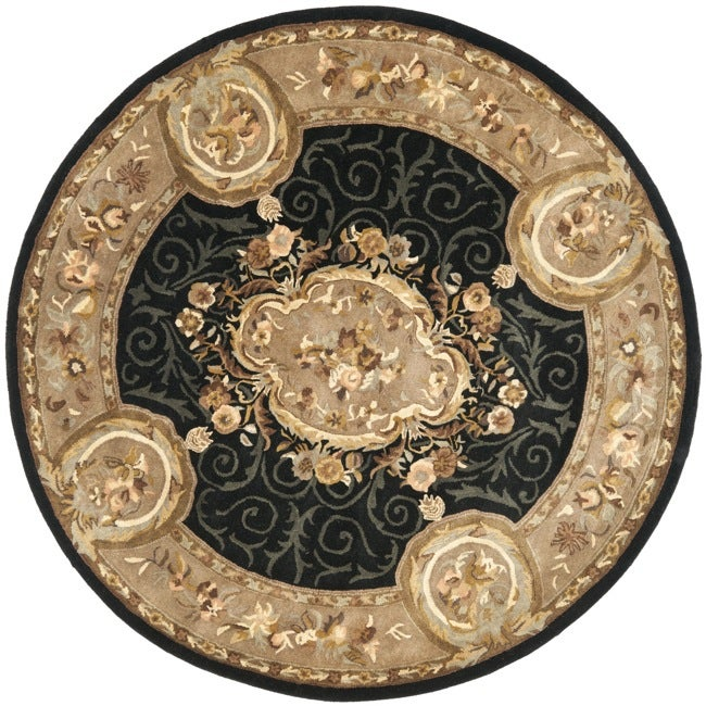 Safavieh Handmade French Aubusson Black Premium Wool Rug (8' Round)