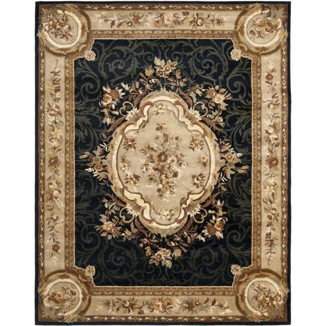 Safavieh Handmade French Aubusson Black Premium Wool Rug (8'3 x 11')