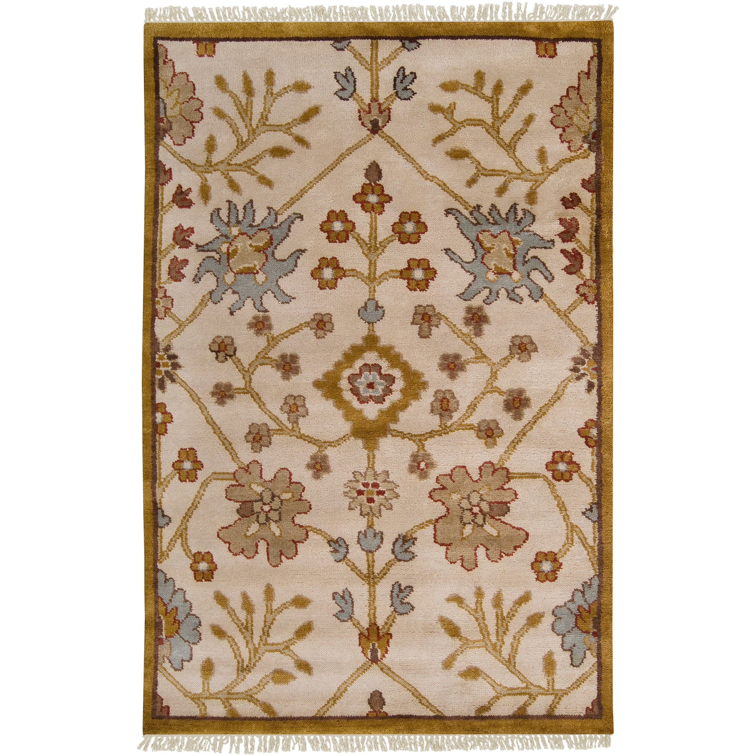 Hand-knotted Ivory Southwestern Parkston New Zealand Wool Rug (8' x 11')
