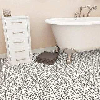 SomerTile 11.75x11.75-inch Castle White Porcelain Mosaic Floor and Wall Tile (10 tiles/9.79 sqft.)
