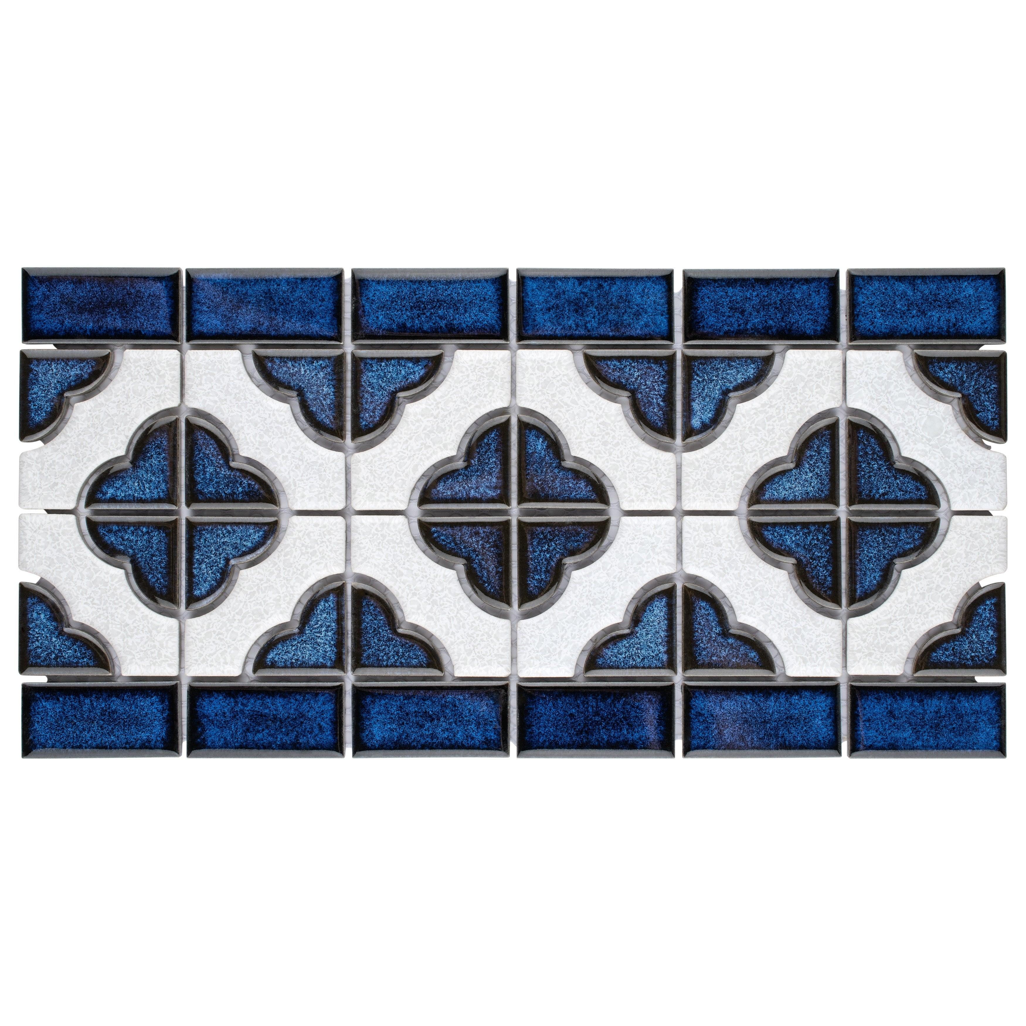 Somertile Castle Cobalt/ White Border Porcelain Mosaic Ti...