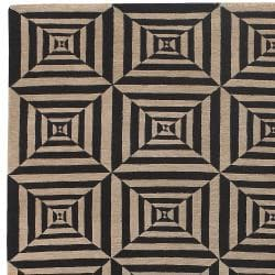 Hand-knotted Beige Bodin Hand Carded New Zealand Wool Rug (5' x 8') - Thumbnail 2
