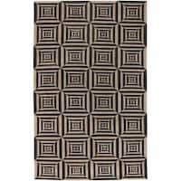 Hand-knotted Beige Bodin Hand-carded New Zealand Wool Area Rug - 5' x 8'