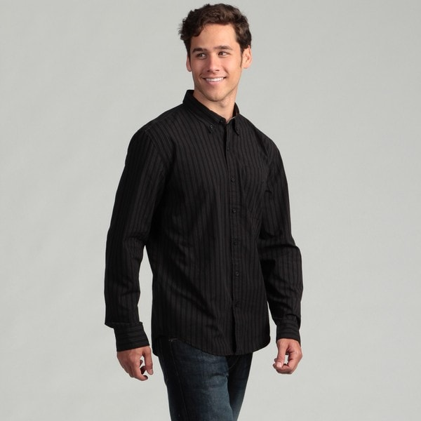 Calvin Klein Jeans Men's Black Striped Woven Shirt