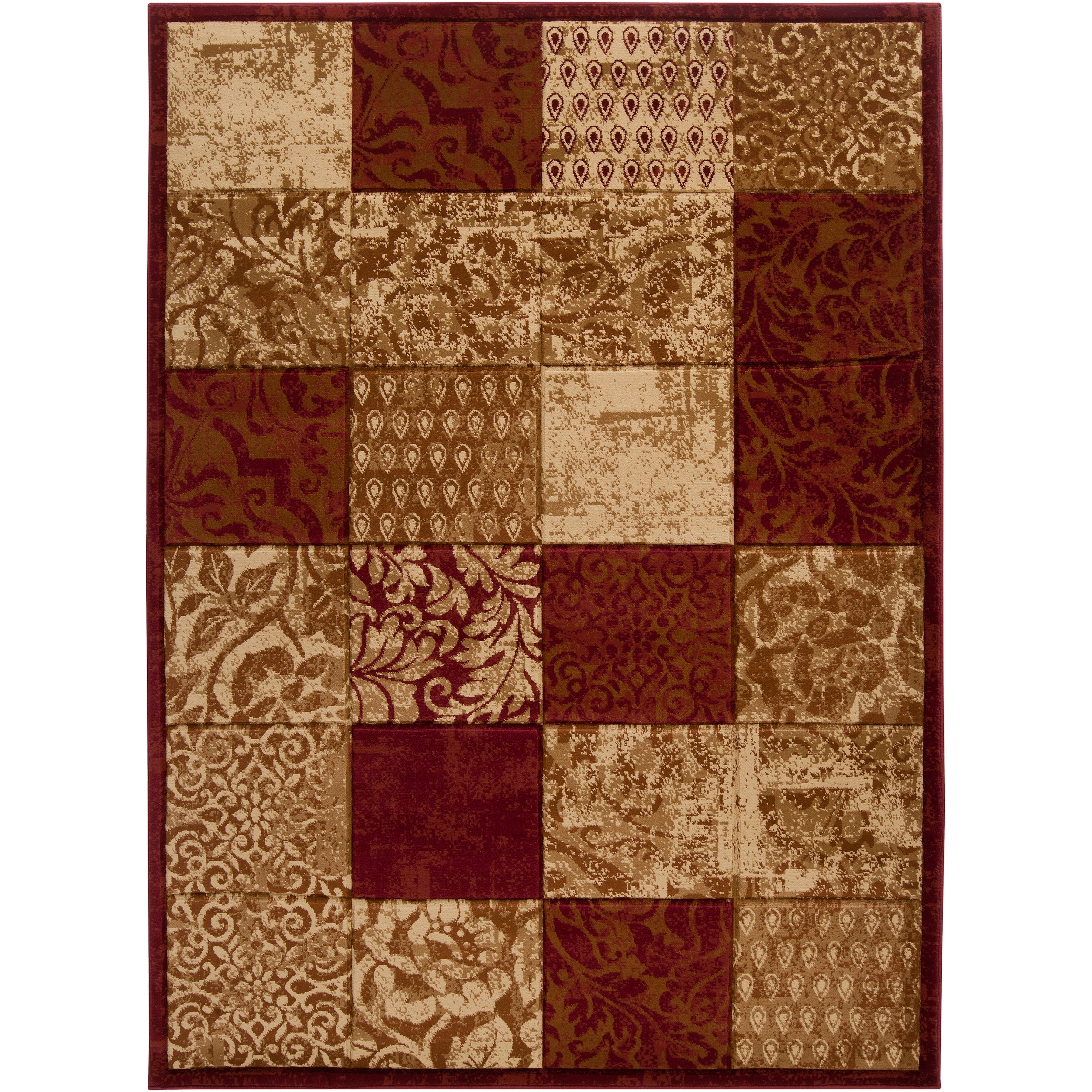 Hand-carved Artistic Weavers Multicolored Burgundy Shangle Rug (7'10 x 10'3)