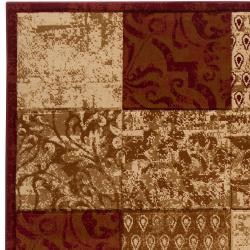Hand-carved Artistic Weavers Multicolored Burgundy Shangle Rug (7'10 x 10'3) - Thumbnail 1