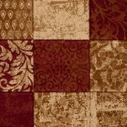 Hand-carved Artistic Weavers Multicolored Burgundy Shangle Rug (7'10 x 10'3) - Thumbnail 2