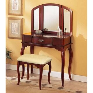 Cherry Tri-mirror Vanity