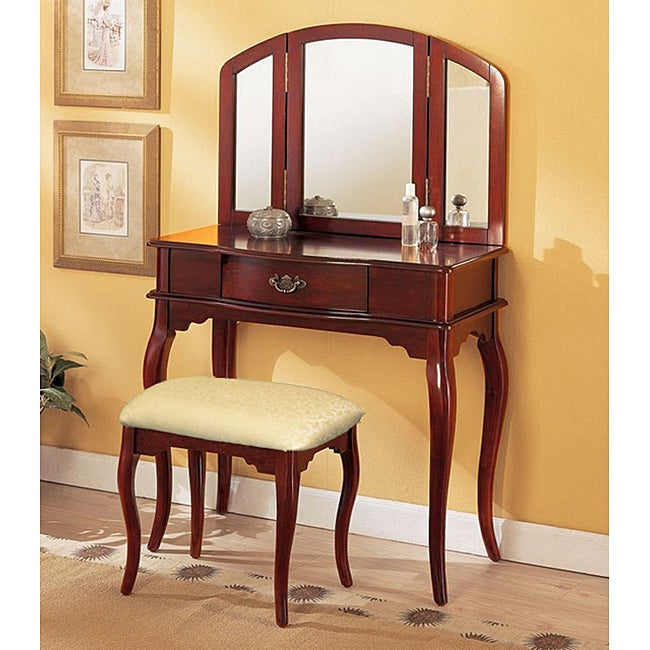 Cherry Tri mirror Vanity Free Shipping Today Overstock