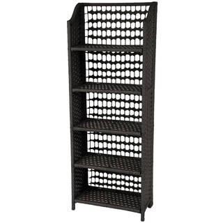 Natural-fiber 53-inch Rattan-style Collapsible Shelving Unit (China)