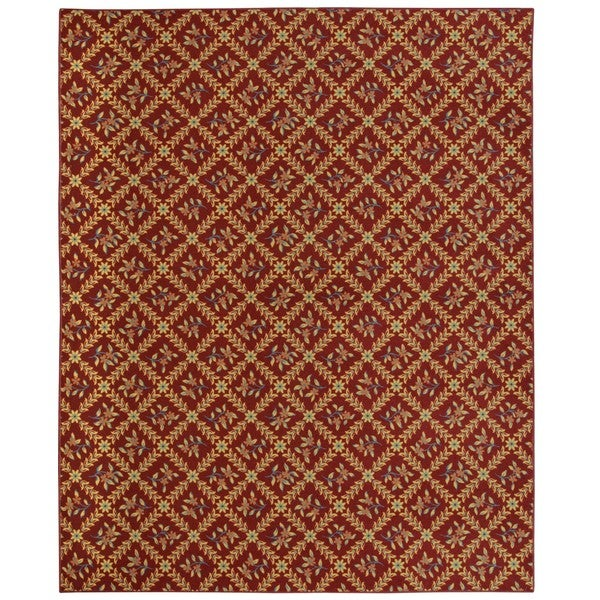 Somette Hand-tufted Printed Red Traditional Floral Rug (8' x 10')