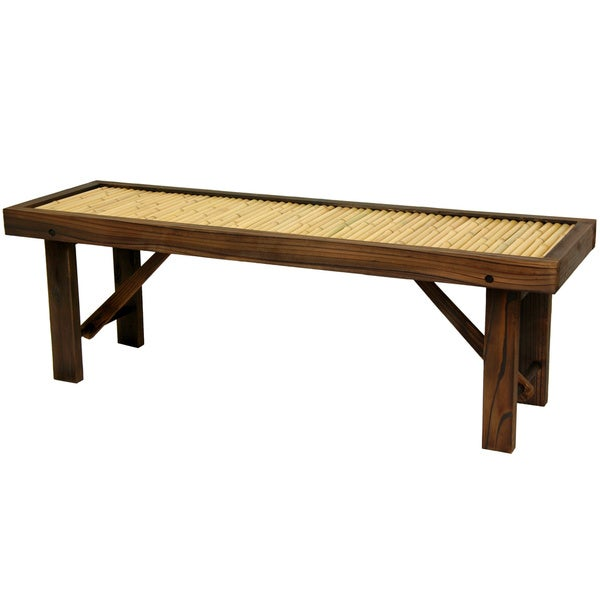 Japanese Bamboo Bench with Wood Frame (China)