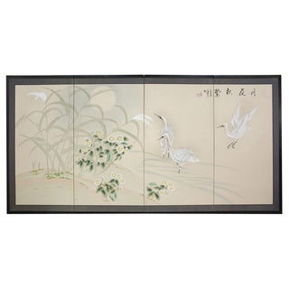 Handmade 'Cranes in Full Moon' 18x36-inch Silk Screen Painting (China)