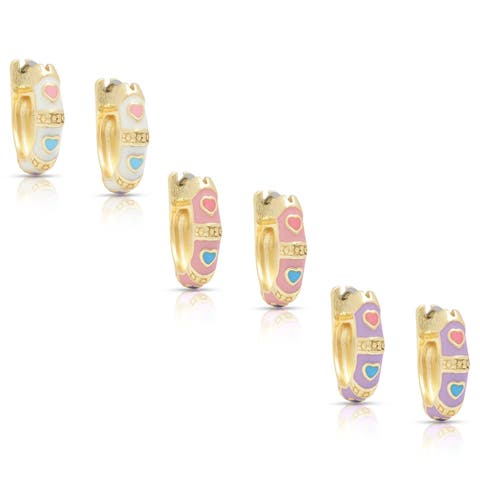 Molly and Emma Children's Gold Overlay Enamel Heart Design Hoop Earrings