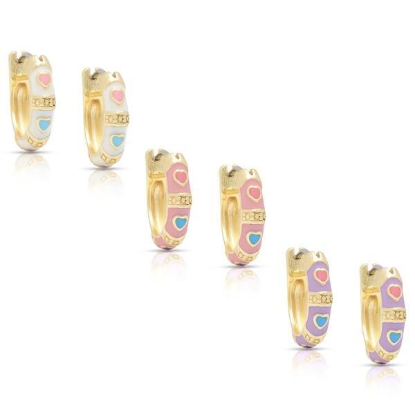 bbc9de5849f Shop Molly and Emma Children's Gold Overlay Enamel Heart Design Hoop ...
