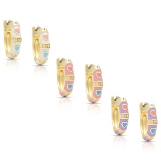 Molly and Emma Children's 14k Gold Overlay Enamel Heart Design Hoop Earrings