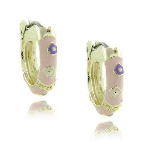 Molly and Emma 14k Gold Children's Pink Enamel Multi-flower Design Hoop Earrings