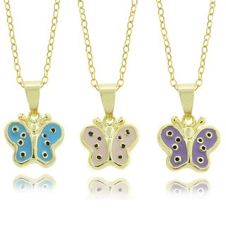 Molly and Emma 14k Gold Children's Enamel Butterfly Pendant