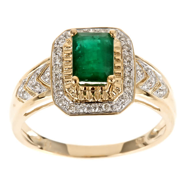 D'Yach 10k Yellow Gold Zambian Emerald and 1/5ct TDW Diamond Ring (G-H, I1-I2) - Thumbnail 0