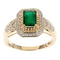 D'Yach 10k Yellow Gold Zambian Emerald and 1/5ct TDW Diamond Ring (G-H, I1-I2)