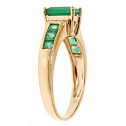 D'Yach 10k Yellow Gold Zambian Emerald and Diamond Accent Ring