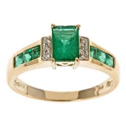 D'Yach 10k Yellow Gold Zambian Emerald and Diamond Accent Ring
