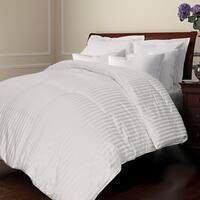 All Season Damask Stripe White Down Comforter