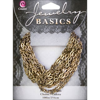 Jewerly Basics Antique Gold Small Oval 100-inch Metal Chain