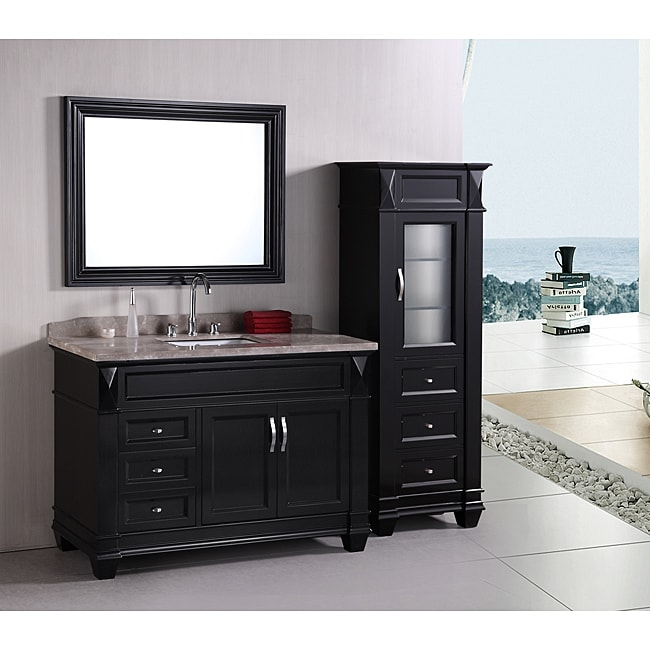 Shop Design Element Hudson 48 Inch Single Sink Bathroom Vanity Set With Linen Tower Accessory Cabinet Overstock 6633436