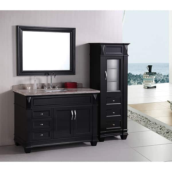 Design Element Hudson 48 Inch Single Sink Bathroom Vanity Set With Linen Tower Accessory Cabinet Overstock 6633436