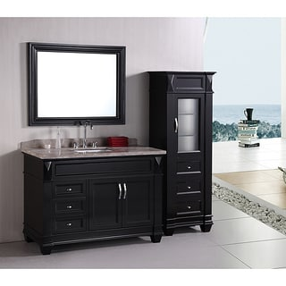 Design Element Hudson 48 Inch Single Sink Bathroom Vanity Set With Linen  Tower Accessory Cabinet