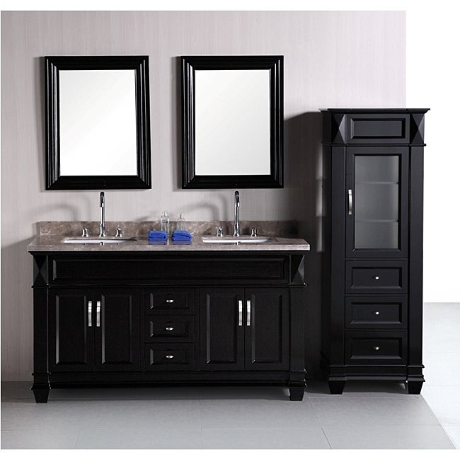 Design Element Hudson 60 Inch Double Sink Bathroom Vanity Set With Linen Tower Accessory Cabinet Overstock 6633449