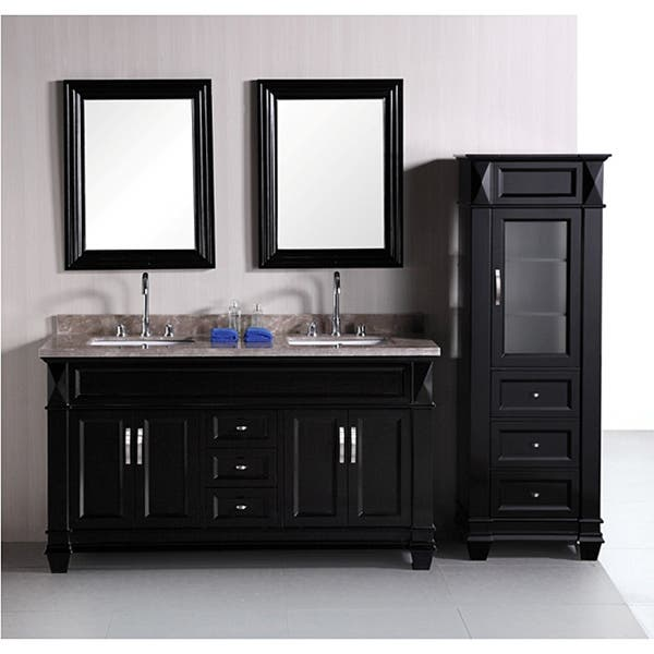 Shop Design Element Hudson 60 Inch Double Sink Bathroom Vanity Set With Linen Tower Accessory Cabinet Overstock 6633449
