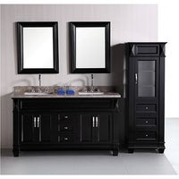 Design Element Hudson 60-inch Double Sink Bathroom Vanity Set with Linen  Tower Accessory Cabinet