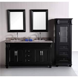 design element hudson 60 inch double sink bathroom vanity set with linen tower accessory cabinet - Bathroom Cabinets Black