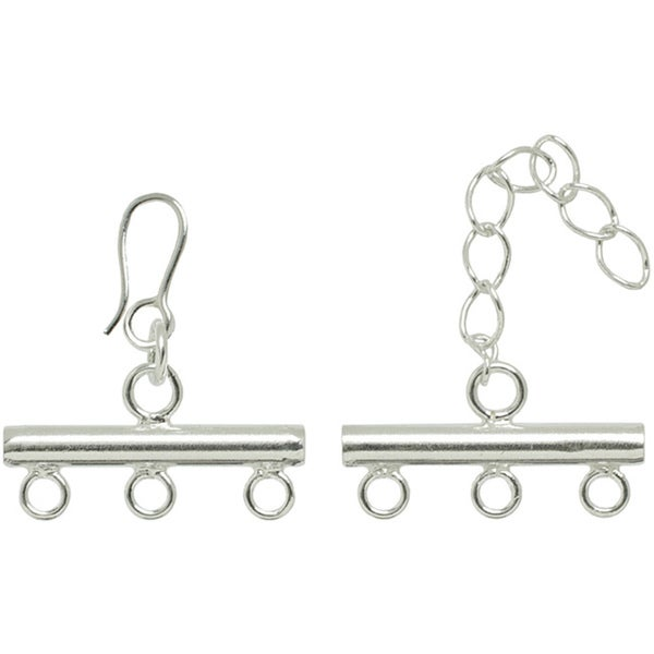 Metal Findings Silver-plated Triple Strand Rod Clasp